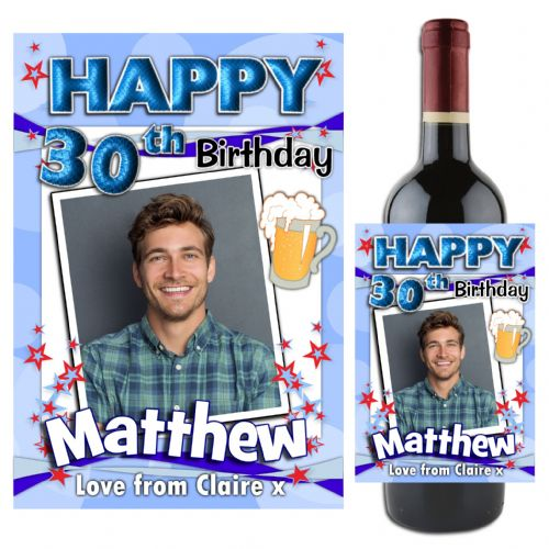 Personalised Blue Beer Glass Happy Birthday Wine / Champagne Bottle PHOTO Label N69